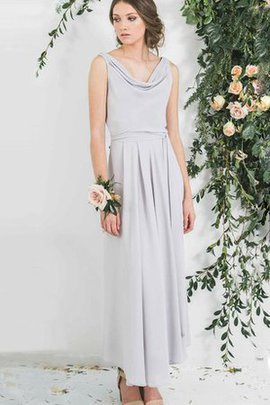 Ankle Length Sleeveless Sashes Cowl Pleated Bridesmaid Dress