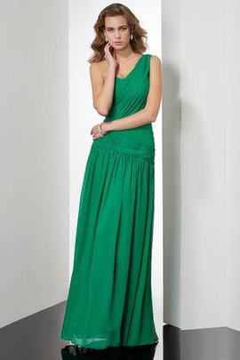 One Shoulder Long A-Line Chiffon Floor Length Evening Dress