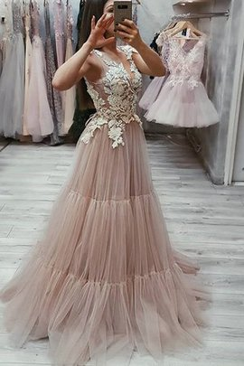 V-Neck Tulle A-Line Natural Waist Appliques Sweep Train Brilliant Prom Dress