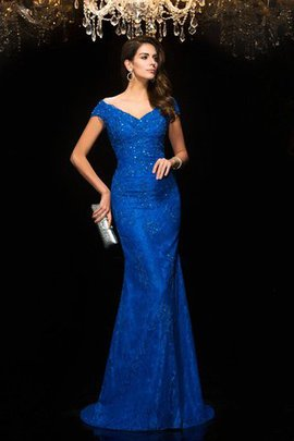 Zipper Up Lace V-Neck Sweep Train Mermaid Mother Of The Bride Dress