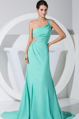 Spaghetti Straps Jewel Chiffon Keyhole Back Ruched Evening Dress