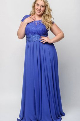 Short Sleeves Bateau Pleated Empire Waist Scoop Prom Dress