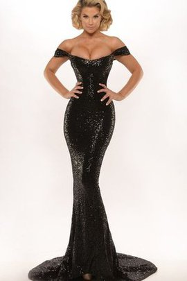 Sweep Train Zipper Up Floor Length Off The Shoulder Appliques Evening Dress