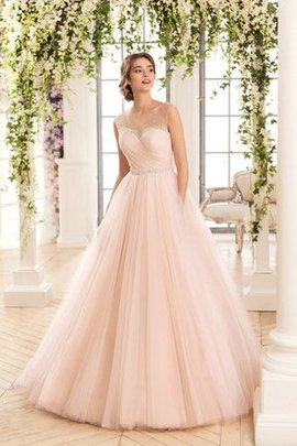 Sleeveless Tulle Sweep Train Beading Floor Length Wedding Dress