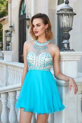 Chiffon Short Backless Halter Beading Cocktail Dress