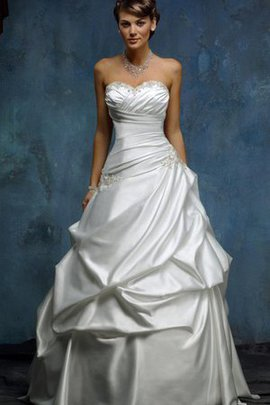 Satin Criss-Cross Natural Waist Pick-Ups Beading Wedding Dress