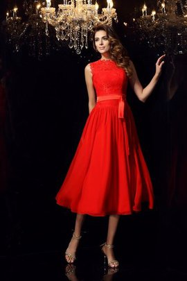 Sashes A-Line Chiffon Tea Length Evening Dress
