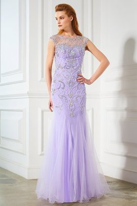 Natural Waist Floor Length Tulle Mermaid Scoop Prom Dress