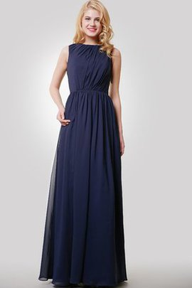 Simple Jewel Keyhole Back A-Line Pleated Bridesmaid Dress