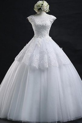 Ball Gown Pleated Capped Sleeves Floor Length Lace Fabric Wedding Dress