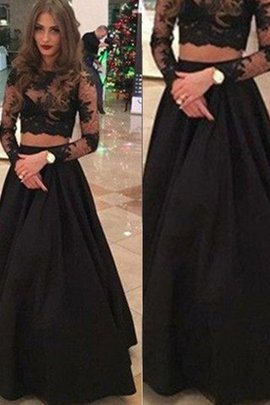 Long Sleeves Princess Natural Waist Floor Length Scoop Evening Dress
