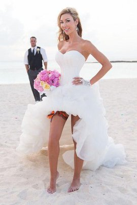 Organza Asymmetrical Sleeveless Natural Waist Wedding Dress