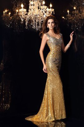 Zipper Up Sequins Spaghetti Straps Empire Waist Floor Length Evening Dress