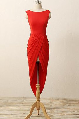 Chiffon Natural Waist High Low Pleated Sheath Bridesmaid Dress