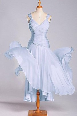 Chiffon Ruched Tea Length Zipper Up Empire Waist Bridesmaid Dress