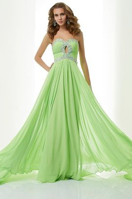 Zipper Up Sleeveless A-Line Sweep Train Evening Dress