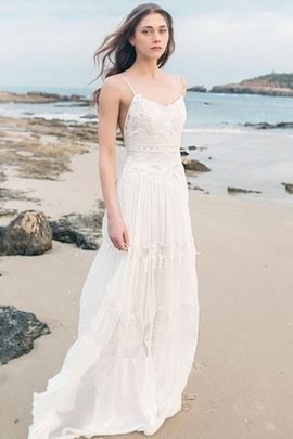 Spaghetti Straps Beach Vintage Simple Sweep Train Wedding Dress