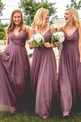 Natural Waist A-Line Tulle Princess Ruffles Spaghetti Straps Beautiful Bridesmaid Dress