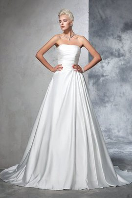 Chapel Train Sleeveless Satin Long Ball Gown Wedding Dress