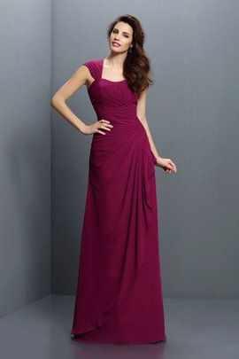 Floor Length Zipper Up Pleated A-Line Chiffon Bridesmaid Dress