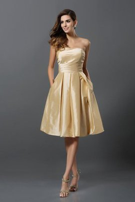 Zipper Up Strapless Princess Sleeveless Taffeta Bridesmaid Dress