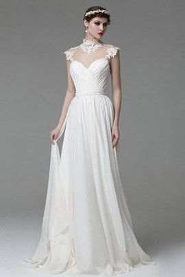 Modest Sweep Train Floor Length Capped Sleeves Chiffon Wedding Dress