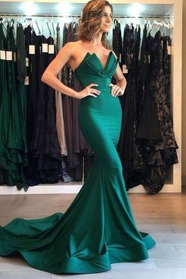 Natural Waist Mermaid Court Train Stunning Satin V-Neck Sleeveless Evening Dress