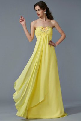 Sleeveless Sweetheart Long Beading Chiffon Prom Dress
