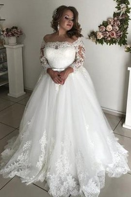 A-Line Natural Waist Fantastic Pompous Long Off The Shoulder Tulle Wedding Dress