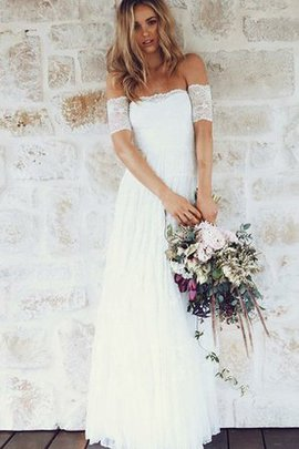 Capped Sleeves Romantic Simple Long Tulle Overlay Wedding Dress