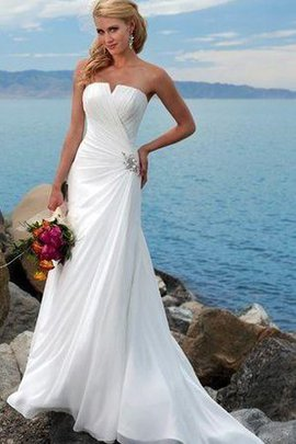 Strapless Beach Informal & Casual Notched Ruched Wedding Dress