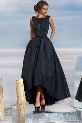 A-Line Sleeveless Tea Length Keyhole Back Lace Evening Dress