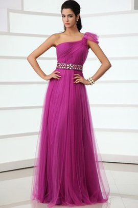 Sashes A-Line Tulle Crystal One Shoulder Evening Dress