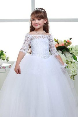 Tulle Natural Waist Off The Shoulder Lace Flowers Flower Girl Dress