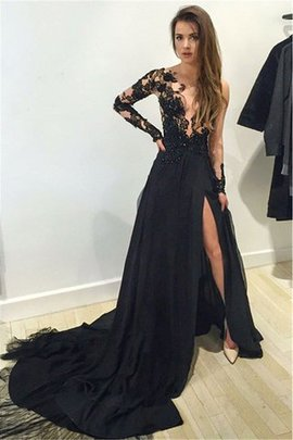 Lace Bateau Long Sleeves Court Train Chiffon Prom Dress