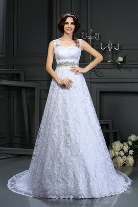 Zipper Up Long Lace Satin Court Train Wedding Dress