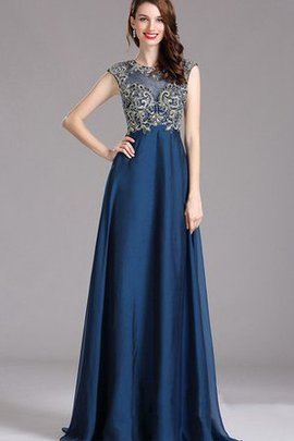 Empire Waist Bateau Taffeta Capped Sleeves Sweep Train Prom Dress