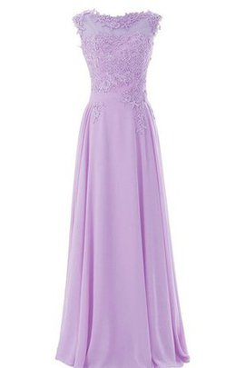 Bateau Appliques Short Sleeves A-Line Natural Waist Bridesmaid Dress