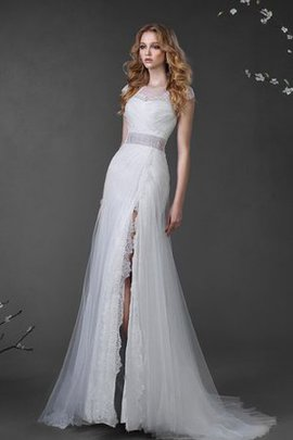 Split Front A-Line Court Train Tulle Lace-up Wedding Dress