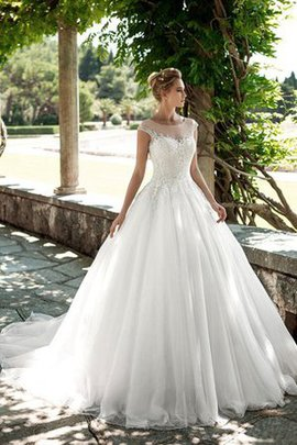 Court Train Modest Beading Long Capped Sleeves Wedding Dress
