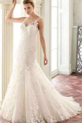 Court Train Mermaid Romantic Long Lace Fabric Wedding Dress