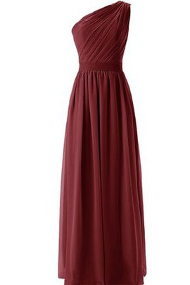 Pleated Chiffon One Shoulder A-Line Natural Waist Bridesmaid Dress