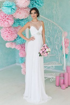 Ruched Chiffon Scoop Empire Waist Sleeveless Wedding Dress
