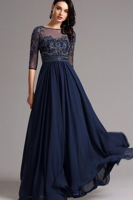 Bateau Empire Waist Beading 3/4 Length Sleeves Zipper Up Prom Dress