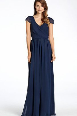 Ruched Elegant & Luxurious Chiffon V-Neck Capped Sleeves Bridesmaid Dress