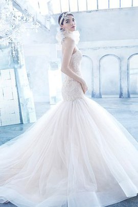 Tulle Dropped Waist Lace A-Line Backless Wedding Dress
