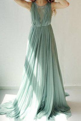 Bateau Simple Pleated Elegant & Luxurious Long Bridesmaid Dress