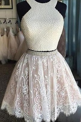 Sleeveless Natural Waist Lace 2 Piece Party Dress