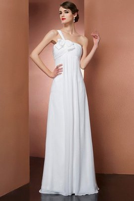 Sleeveless Accented Bow One Shoulder Long Empire Waist Evening Dress