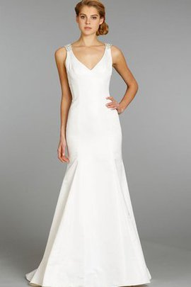 V-Neck Dropped Waist Mermaid Sleeveless Sheer Back Wedding Dress